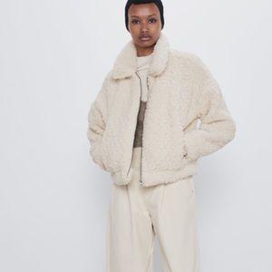 Zara Faux Shearling Cropped Jacket